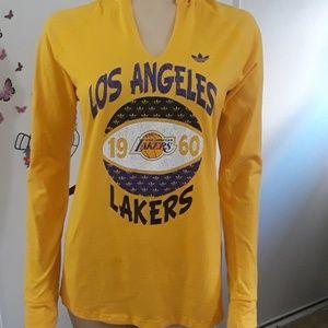Adidas long sleeve hooded Laker shirt.